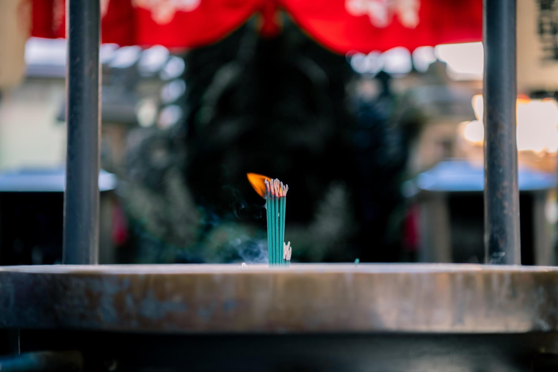 a burning incense sticks